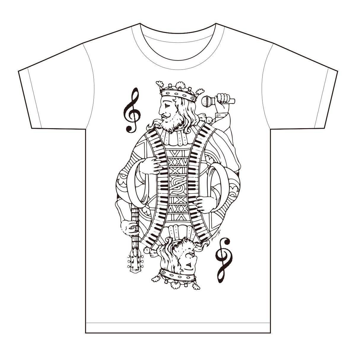 ガンジンルーTシャツ-king_white